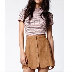 Kendall & Kylie Tan Faux Suede Scallop Mini Skirt